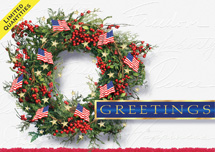 Patriotic Wreath Holiday Greeting Card