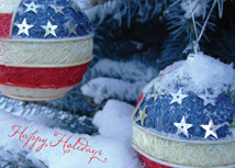 Patriotic Ornaments Christmas Greeting Card